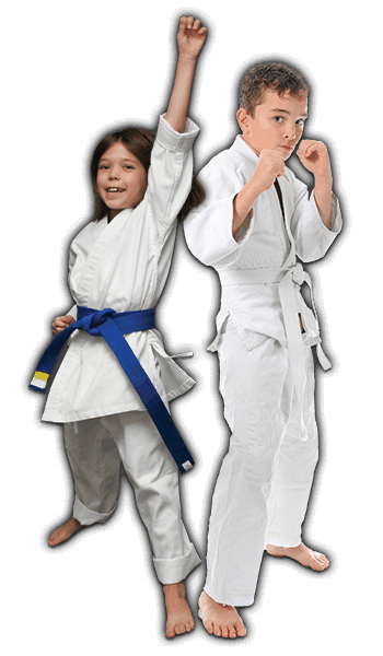 Martial Arts Lessons for Kids in Cypress TX - Happy Blue Belt Girl and Focused Boy Banner